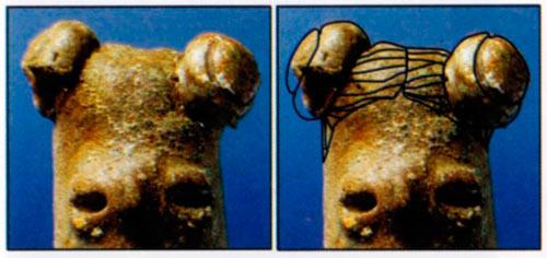 Помлада дама со фризура од три кокчиња, две од по страните, една позади на тилот, обликувани во двојни топчиња; Тумба, Породин