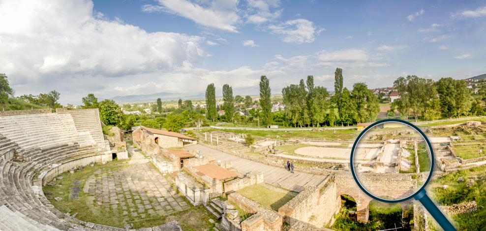 Panoramic photo of Heraclea Lyncestis with the location of the mosaic marked with magnifying glass