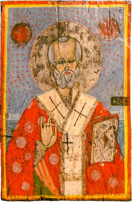 Icon from the Church of the Holy Mother of God from the village of Velushina, a presentation of St. Nicholas