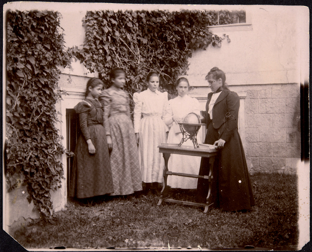 Rada Pavlova teaches a geography class to students, June 1899