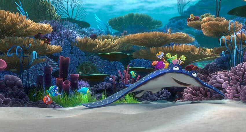 Bluespotted Ribbontail Ray. Scene from Finding Nemo