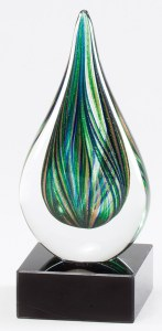 Tear Drop Glass Trophy