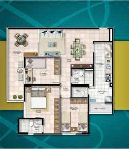 Planta baixa - 3 quartos com suíte, dependência, ampla varanda, 2 vagas de garagem e área privativa de 91,61m2
