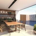 Perspectiva do espaço gourmet da piscina