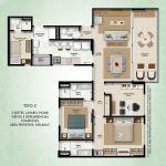 Planta baixa - Tipo C - 2 suítes, lavabo, home office e dependências completas - área privativa de 108,46m2