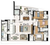 Planta baixa -3 Suítes Living ampliado com Cozinha integrada