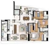 Planta baixa -3 Suítes - Living e Suite ampliados sem Cozinha integrada