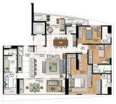Planta baixa -3 Suítes - Living e suite ampliados com Cozinha integrada
