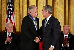 Edward Brooke is congratulated by President George W. Bush at the Ceremony for the 2004 Recipients of the Presidential Medal of Freedom, The East Room of the White House.