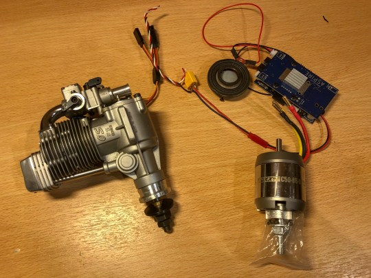 OS FS120 versus a Roxxy 50-65-07 motor. MrRCSound Aspire shown top right