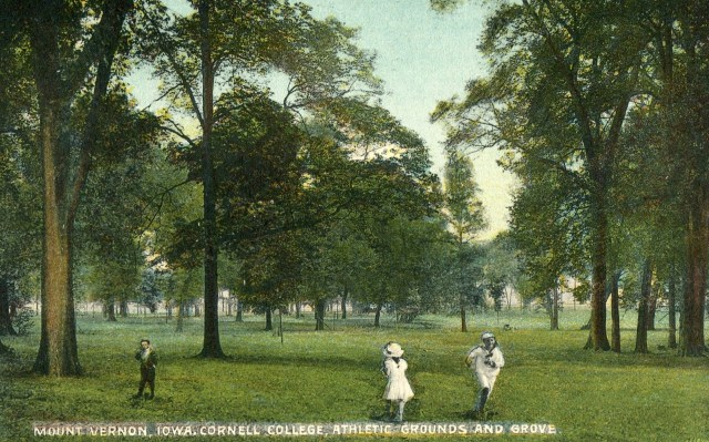 photo of a colored postal card; era before football field and track. Original picture could well be about 1900 and colored later.