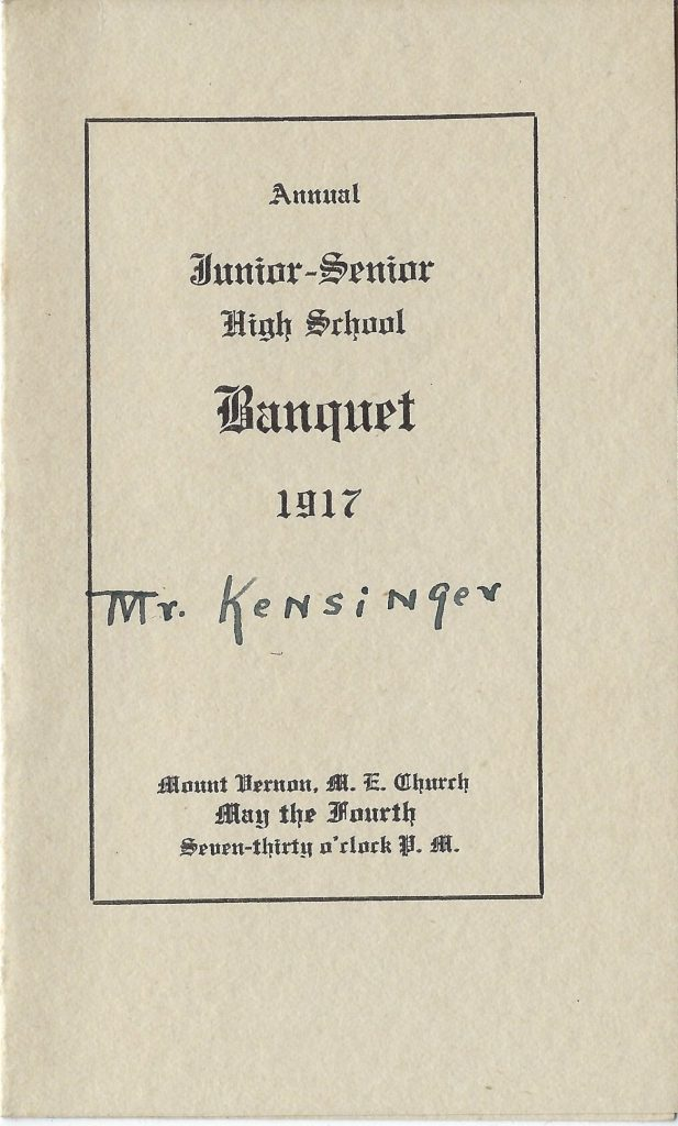 Photo of high school banquet 1917 menu