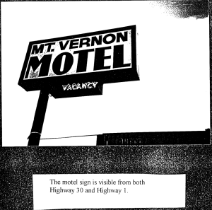 Picture of the Mount Vernon Motel Sign as it stood in 1995. Black, blocky lettering with a red neon Vacancy sign