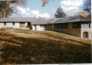 Lodge in Palisades State Park. A single story stone building in a rustic setting