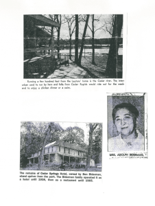 Photos of the Cedar Springs Hotel and Mrs. Biderman