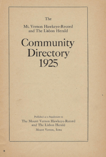 Photo of the 1925 Mount Vernon Community Directory Cover Page