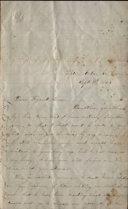 Photo of Letter to Anna Brackett from Mattie Carpenter 1865