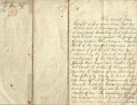 Photo of M.K. Neff Civil War Writings: Page 1