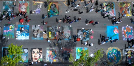 Photo of Chalk the Walk-2007 Aerial entire street