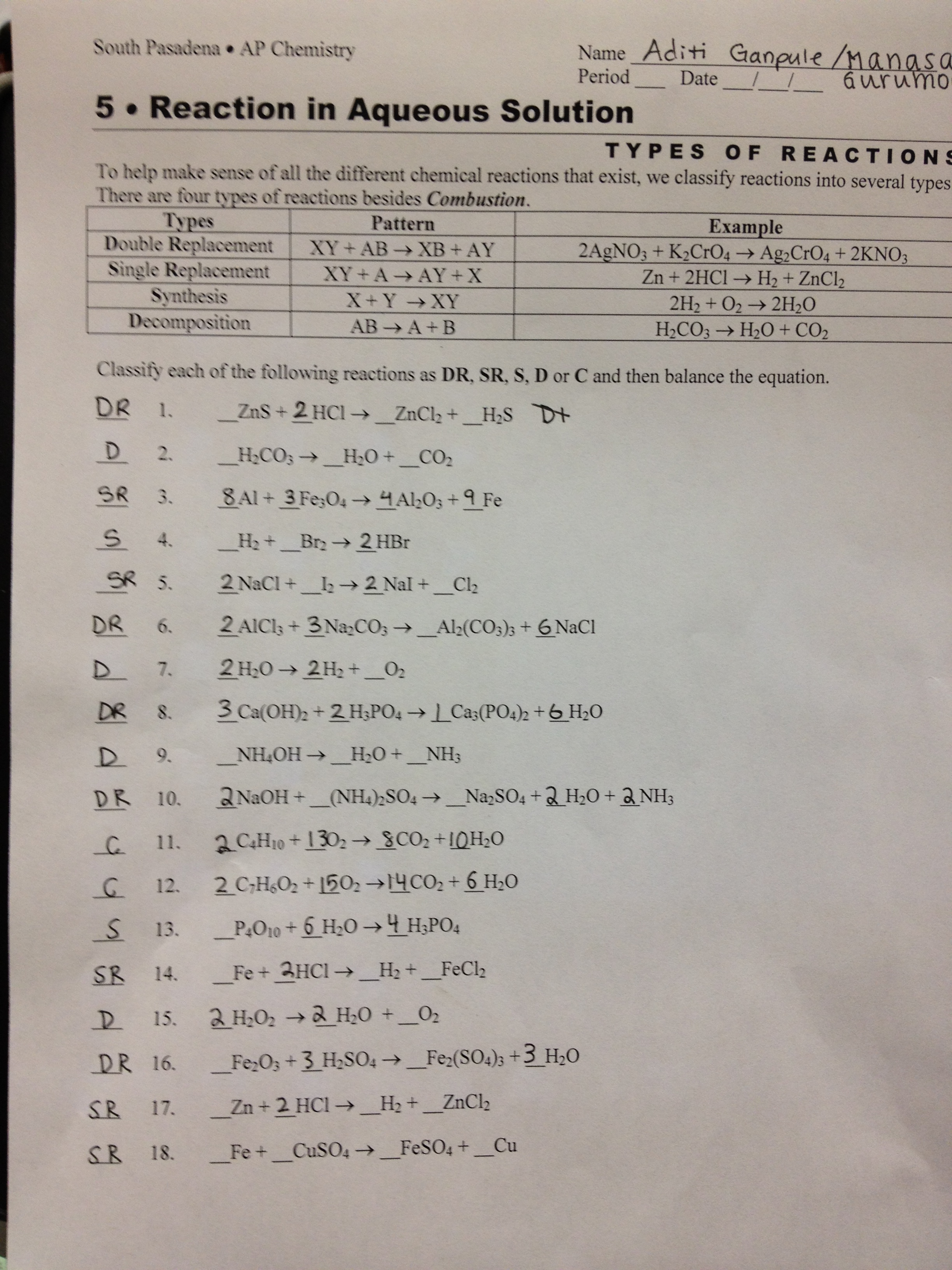 Double Replacement Reactions Worksheet Doc
