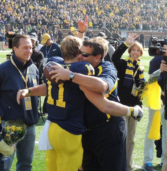 Brady Hoke hugs Jordan Kovacs - MVictors.com