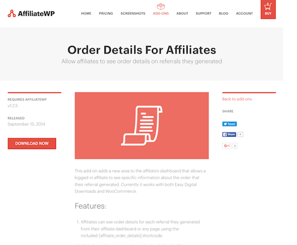 AffiliateWP: Order Details For Affiliates