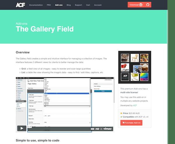 Advanced Custom Fields: Gallery Field