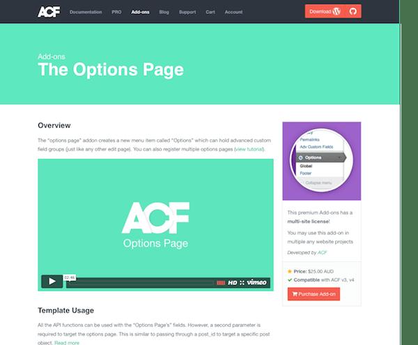Advanced Custom Fields: Options Page
