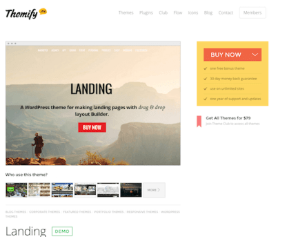 Themify: Landing WordPress Theme