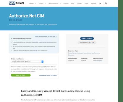 Extensión para WooCommerce: Authorize net CIM Payment Gateway