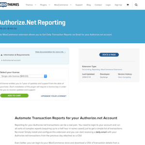 Extensión para WooCommerce: Authorize net Reporting