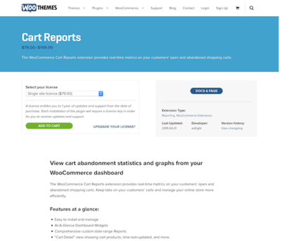 Extensión para WooCommerce: Cart Reports