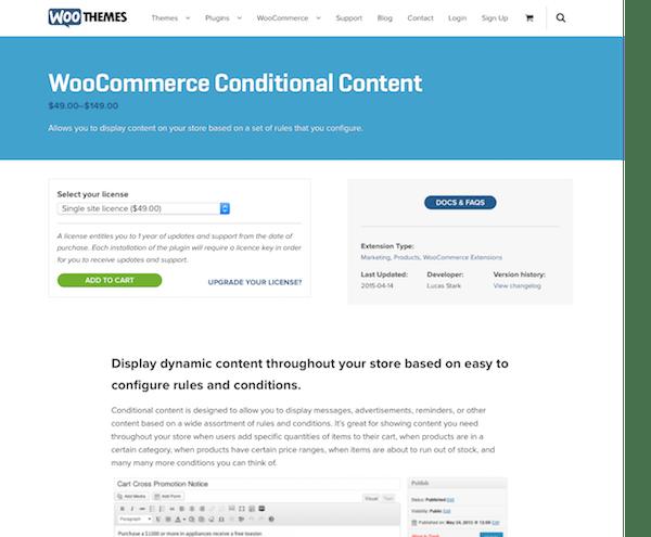 Extensión para WooCommerce: Conditional Content