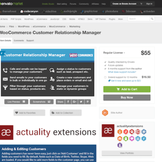 Extensión para WooCommerce: Customer Relationship Manager