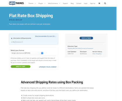 Extensión para WooCommerce: Flat Rate Box Shipping
