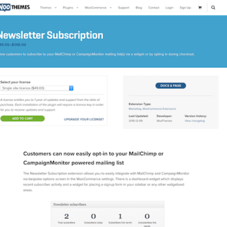Extensión para WooCommerce: Newsletter Subscription