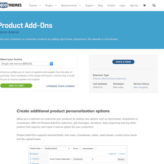 Extensión para WooCommerce: Product Add-ons