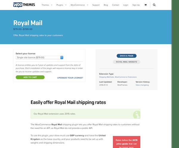 Extensión para WooCommerce: Royal Mail Shipping