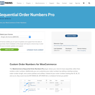 Extensión para WooCommerce: Sequential Order Numbers Pro