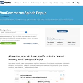 Extensión para WooCommerce: Splash Popup