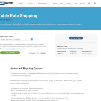 Extensión para WooCommerce: Table Rate Shipping