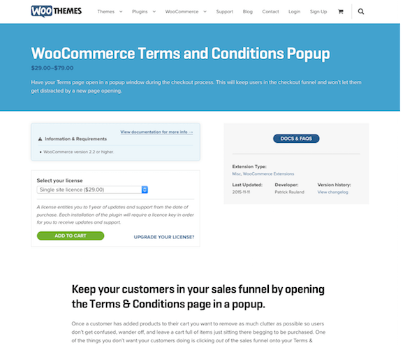 Extensión para WooCommerce: Terms and Conditions Popup