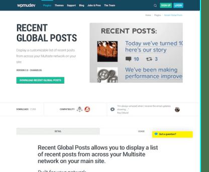 WPMU DEV: Recent Global Posts WordPress Plugin