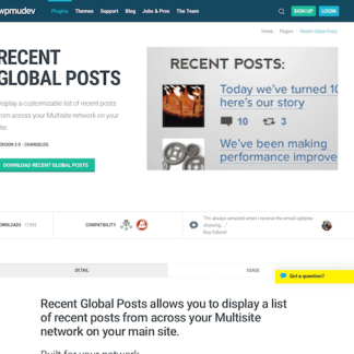 WPMU DEV: Recent Global Posts WordPress Plugin