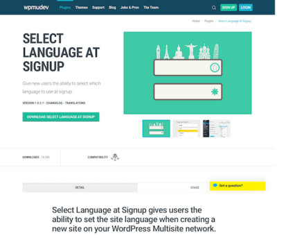 WPMU DEV: Select Language at Signup WordPress Plugin
