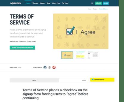 WPMU DEV: Terms Of Service WordPress Plugin