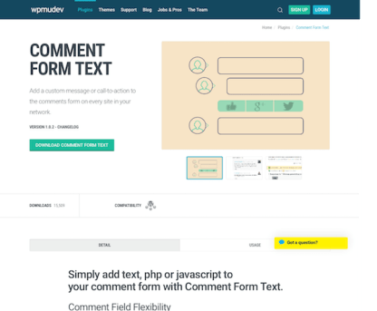 WPMU DEV: Comment Form Text WordPress Plugin