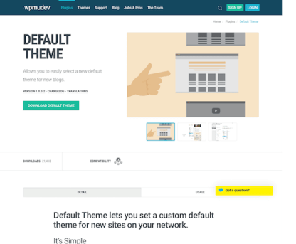 WPMU DEV: Default Theme WordPress Plugin