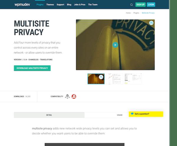 WPMU DEV: Google Multisite Privacy WordPress Plugin