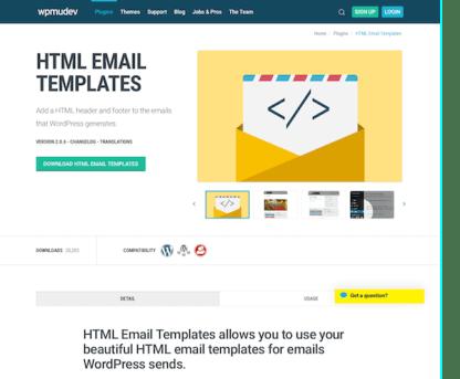 WPMU DEV: HTML Email Templates WordPress Plugin